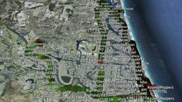 Wi-Fi access points mapped out on the Gold Coast.