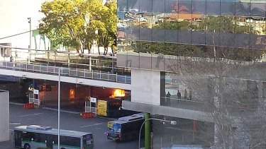 The bus could be seen in flames inside the 'D' depot at the station