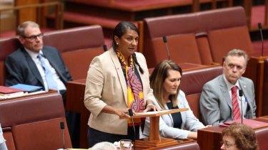 Senator Nova Peris makes a statement to the Senate in Canberra on Thursday.