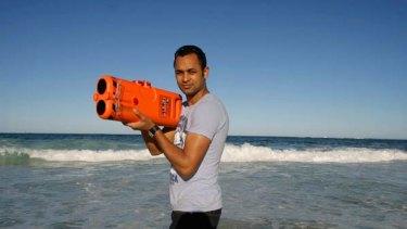 Making waves ... Sam Adeloju with his Longreach device.