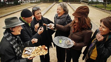 Grappa, coffee and pastries keep everyone warm at the Montemurro Bocce Club in North Carlton.