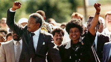 Free at last: Nelson Mandela and wife Winnie leave Robben Island prison in 1990.