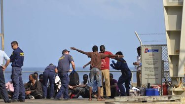 The suspected asylum seekers at Christmas Island on Thursday.
