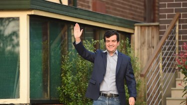 Senator Sam Dastyari leaves his home in Russell Lea, Sydney on Wednesday morning.