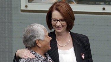 Julia Gillard meets Lowitja O'Donoghue yesterday.