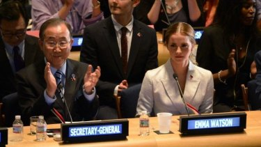 UN Women Goodwill Ambassador Emma Watson (R) and United Nations Secretary General Ban Ki-moon.