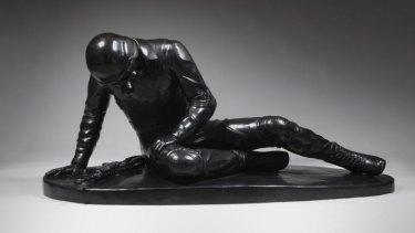 "Penny Byrne's ""felled"", 2014, cast in bronze, is a contemporary take on the ""Dying Gaul""."