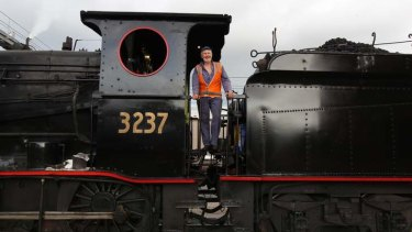 In control: Garry Ballhouse prepares to drive one of the steam engines stored at 3801 Ltd's Everleigh shed.