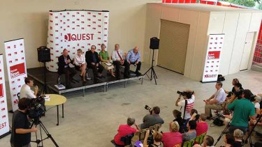 Campbell Newman and Kate Jones participate in a debate at Oakleigh State School in Ashgrove on Sunday afternoon.