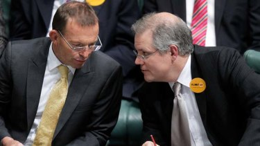 """""""Making Tony Abbott the issue hasn?t been this government?s forte"""" ... Opposition Leader Tony Abbott and Immigration spokesman Scott Morrison during question time on Thursday."""