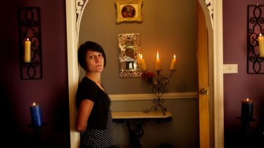 Kathy Carra at home. She has had 40 jobs in a year.