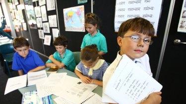 Tackling Sanskrit … Elliot Lynch, Alexander Condos, Miksela Smith, Maja Cunningham and Max Lim Scrimali at John Colet school.