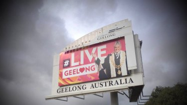 A billboard promoting Geelong, and Darryn Lyons, just outside Geelong.