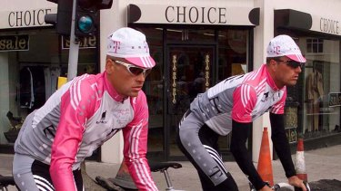 Germany's Jan Ullrich (left) and Denmark's Bjarne Riis cycle through the streets of Dun Laoghaire during a training session prior to the start of the 1998 Tour de France.