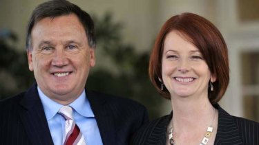 Julia Gillard with partner Tim Mathieson at Government House. <i>Photo: Reuters</i>