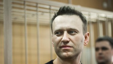 Russian opposition leader Alexei Navalny appears in court.