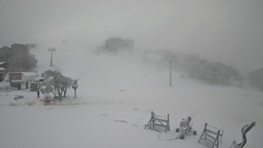 A snow cam view of Bourke Street, Mount Buller, just after 8am on Monday.
