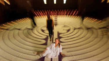 Mapped out ... Emily Simpson, with a scale model labyrinth at Mosman Art Gallery, is part of a worldwide push to have the paths built in public spaces for meditation.
