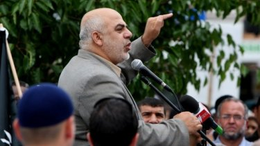 Senior Hizb-ut Tahrir figure Ismail Al-Wahwah speaking at a rally.