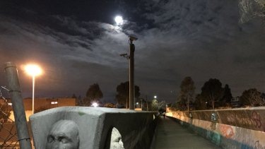 Brunswick's bridge of faces is especially creepy after dark.