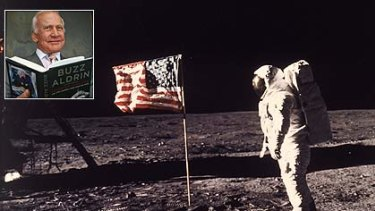 """One giant step ... Edwin """"Buzz''  Aldrin becomes the second man  to walk on the moon. Inset:  Aldrin promoting his book."""