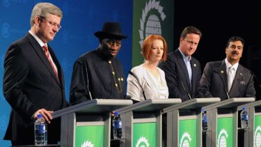 Prime Ministers of leading Commonwealth nations take questions at the CHOGM conference.