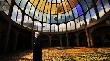 Australia's most senior Muslim, Sheik Fehmi Najl el-Imam, at the Preston Mosque yesterday.