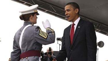 Global leadership ... a West Point cadet salutes Mr Obama