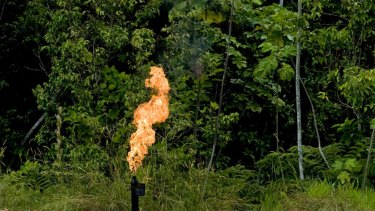 Gas is flared off from an oil facility near Yasuni National Park in Orellana Province, Ecuador.
