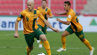 Dylan Tombides in action for the Socceroos at the AFC U-22 Championship.