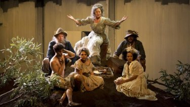 A true epic: (back) Robert Menzies, Sarah Peirse, Anthony Taufa and (front) Liam Nunan, Rarriwuy Hick and Zindzi Okenyo in Sydney Theatre Company's <i>The Golden Age</i>.