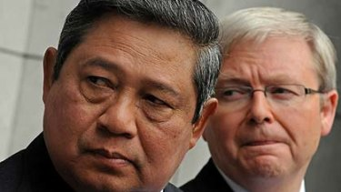 Indonesian President Susilo Bambang Yudhoyono and Australian Prime Minister Kevin Rudd present a united front at Parliament House in Canberra this week.