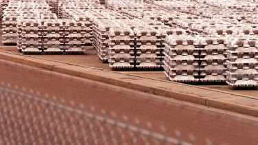 Aluminium Ingots stored at the Tomago aluminium smelter, near Newcastle.