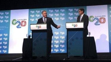 US Treasury Secretary Jack Lew with Treasurer Joe Hockey in Cairns.