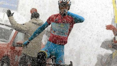 Crowning moment: Vincenzo Nibali as all but assured his victory in the Giro d'Italia when he won stage 20.