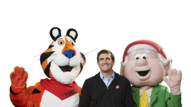 Former Canberran and Kellogg's chief executive John Bryant with Tony the Tiger and Ernie Keebler (of Keebler elves) for Canberra Times profile of local boy done good. Photo: Kelloggs  John, Tony, Ernie 2.jpg