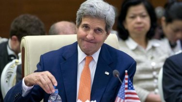 Criticised: US Secretary of State John Kerry at the ASEAN summit on Sunday.