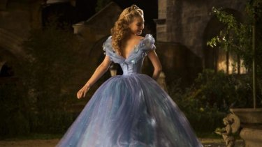 Lily James is Kenneth Branagh's wasp-waisted heroine.