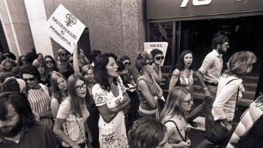 Germaine Greer takes part in a Women's Liberation march in Sydney in 1972.