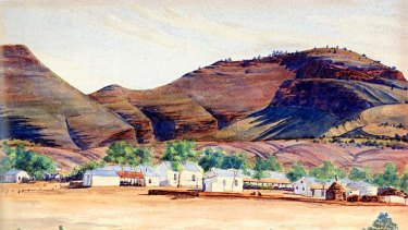 Painting country ... <em>Hermannsburg Mission</em> by Albert Namatjira.