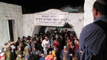 Near Nablus: Joseph's Tomb under spotlights.