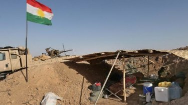 A Kurdish Peshmerga fighter's outpost on front lines with militants from ISIL.