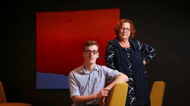 Scott Tangey and his mother Kim. Tangey is using a consultant to explore work options.