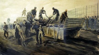 WWII official war artist, Alan Moore recorded this image of SS troops unloading the death wagon in the Bergen-Belsen concentration camp, Germany on the day of its liberation.