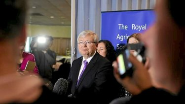 Prime Minister Kevin Rudd at a media conference in Hobart on Saturday.