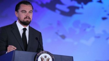 """Hollywood actor Leonardo DiCaprio says the Great Barrier Reef """"utopia"""" is gone."""