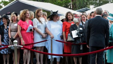 The who's who of WA line up to greet the Queen and Prince Phillip - including mining billionaire Gina Rinehart. Photo: AFP