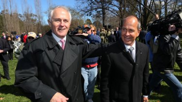 Prime Minister Malcolm Turnbull with journalist Peter Greste at the opening of the memorial to Australian war correspondents on Wednesday.
