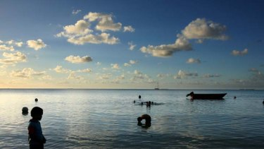 The lagoon at Tuvalu's capital atol, Funafuti.