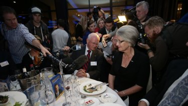 Fairfax chairman Roger Corbett fields questions during a Liberal Party fundraiser.
